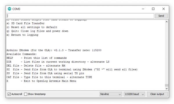 ZMODEM SD Card File Transfer Menu