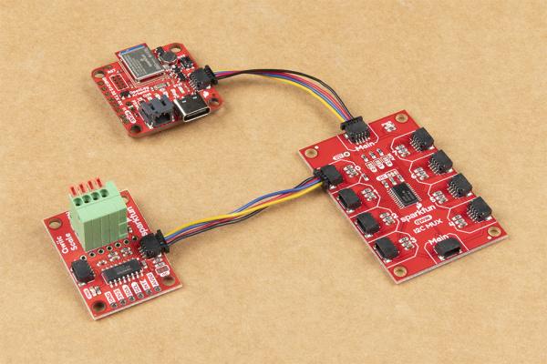 Qwiic Connector connector between OpenLog Artemis and a Qwiic Sensor/Mux