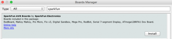 Installing Boards Using the Boards Manager