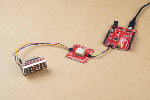 Qwiic GPS Clock with 7-Segment Serial Display and an Arduino