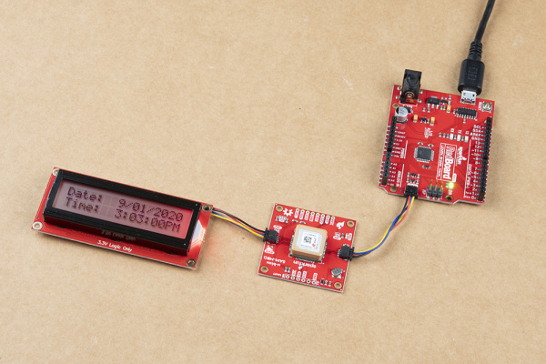 Qwiic GPS Clock with Serial Enabled LCD and an Arduino
