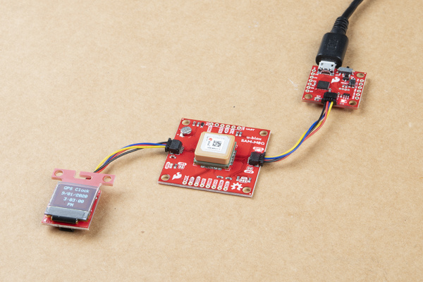 Qwiic GPS Clock with Qwiic micro OLED and Qwiic Micro (SAMD21)