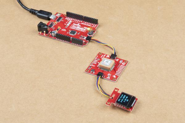 Qwiic GPS Clock with Qwiic micro OLED and an Arduino