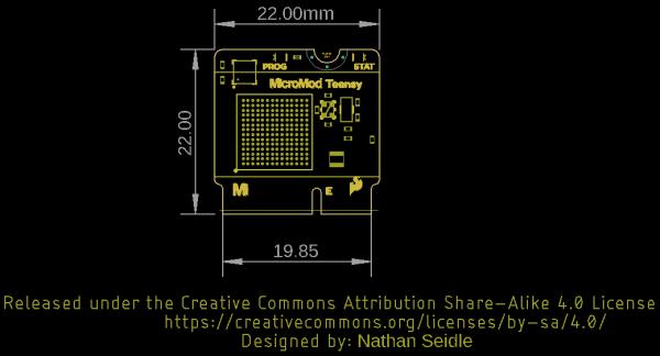 Teensy Processor Board Dimensions