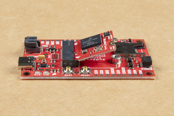 Teensy Processor Board is inserted into the M.2 connector at a 45 degree angle.