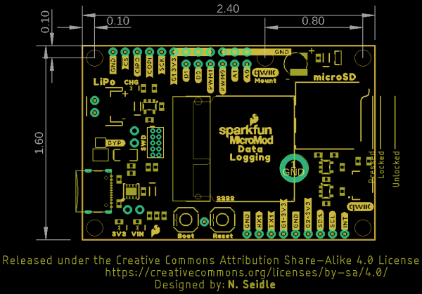 Data Logging Carrier Board Dimensions