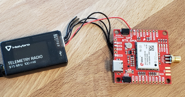 Serial Telemetry Radio attached to SparkFun ZED-F9P