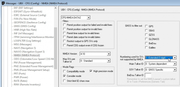 Enabling SV numbering and high precision NMEA