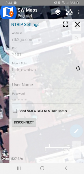Using SW Maps to get correction data over NTRIP