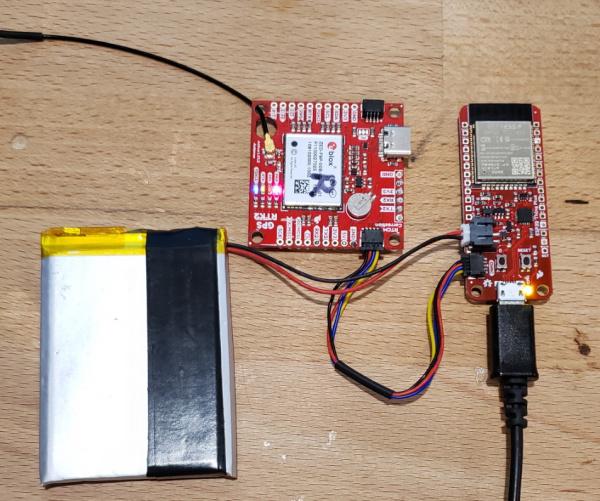 RTK SMA transmitting RTCM over Qwiic to ESP32 Thing Plus