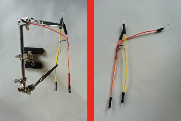 Wire Tapped for a Western T-Splice with Resistor and Wires