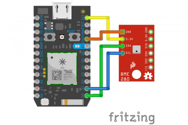 the BME280 fritzing diagram