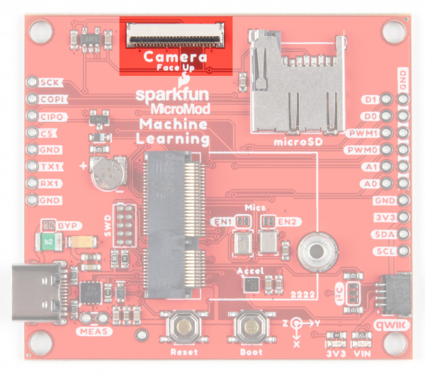 Image of the board with the camera connector highlighted