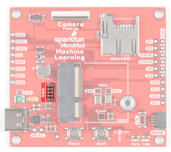 Image of the board with SWD pins for JTAG debugging highlighted