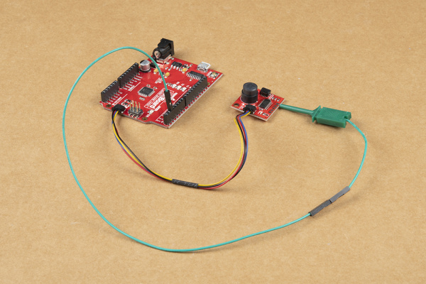 The completed Qwiic PIR circuit with Interrupt Pin connected.
