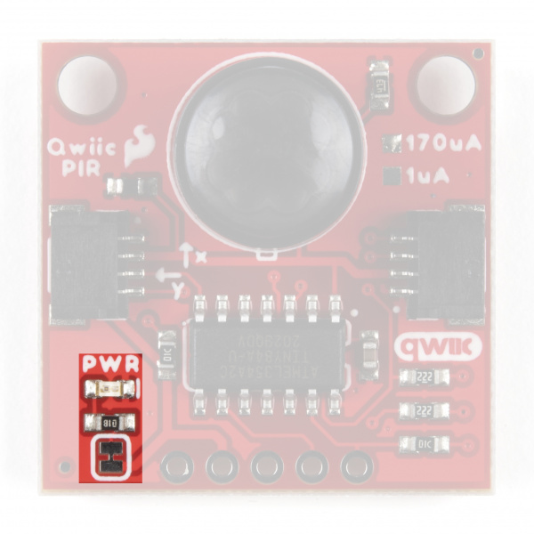 Highlighting the Power LED Jumper on the Qwiic PIR
