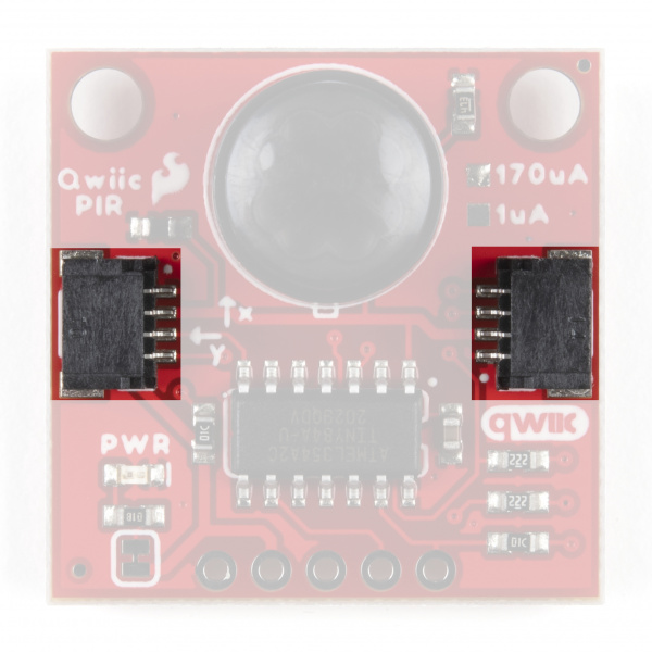 Highlighting the Qwiic connectors on the front of the Qwiic PIR