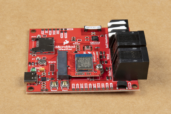MicroMod nRF52840 Processor secured to the Weather Carrier Board.