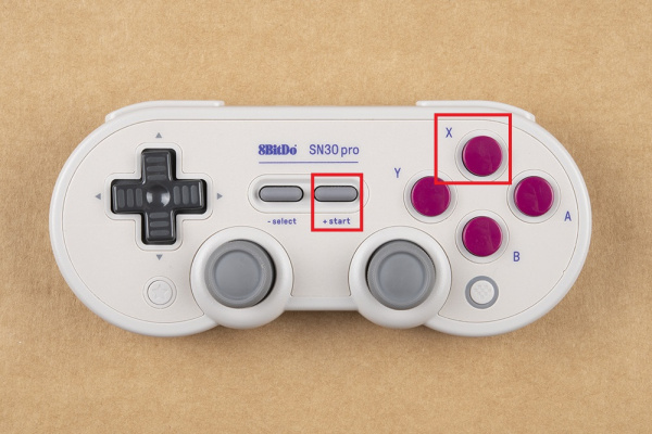 X button and Start button are highlighted