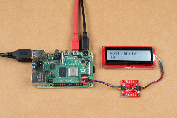 RGB Character Serial LCD Displaying Hello World with Counter