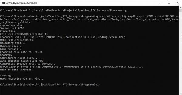 Programming via the esptool CLI