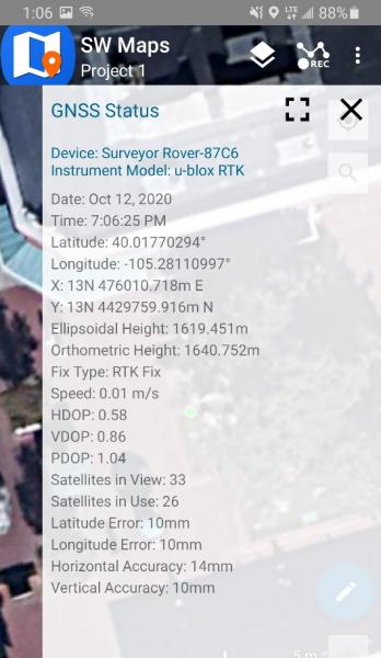 SW Maps with RTK Fix