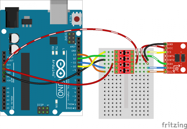 SPI ADXL345 to Arduino via BD-LLC