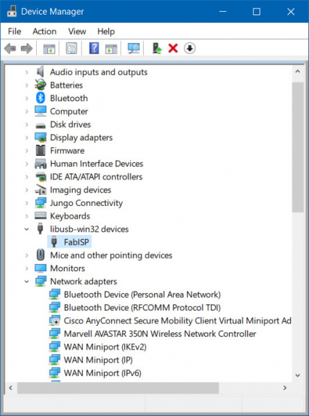 AVR Programmer Displayed as FabISP in Device Manager
