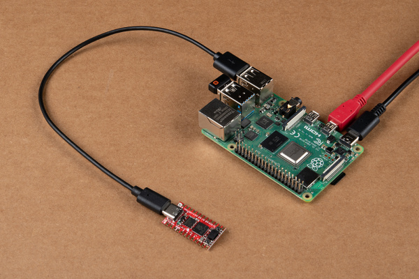 Pro Micro Connected to USB C Cable and Raspberry Pi