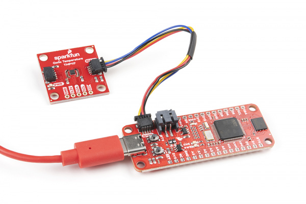 Image of STM32 TP and Qwiic sensor attached