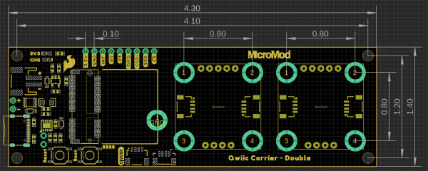 MicroMod Qwiic carrier board dimensions - double