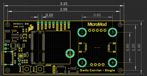 MicroMod Qwiic carrier board dimensions - single