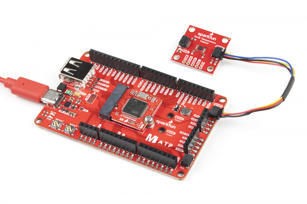 STM32 Processor Board, Carrier Board, and Qwiic sensor attached