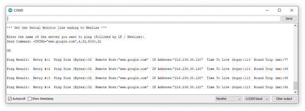 Screenshot showing serial printout from successful ping.