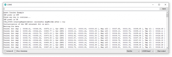 Screenshot of Arduino Serial Monitor printing IMU data.