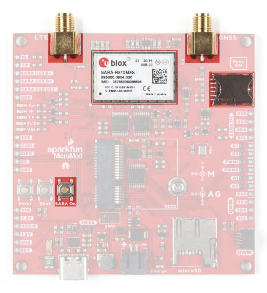 Photo highlighting SARA-R5 module, SMA connectors, SIM slot and SARA On button.