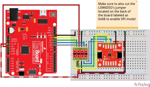Fritzing Diagram of LSM6DSO in SPI Mode with an Arduino and Logic Level Converter