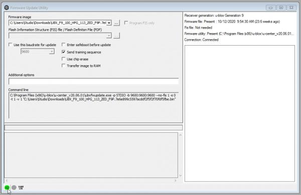 Firmware update tool window