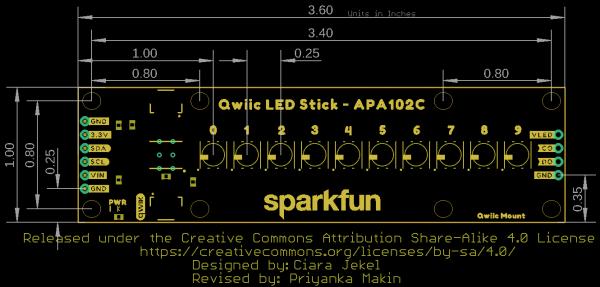 Qwiic LED Stick Dimensional Drawing