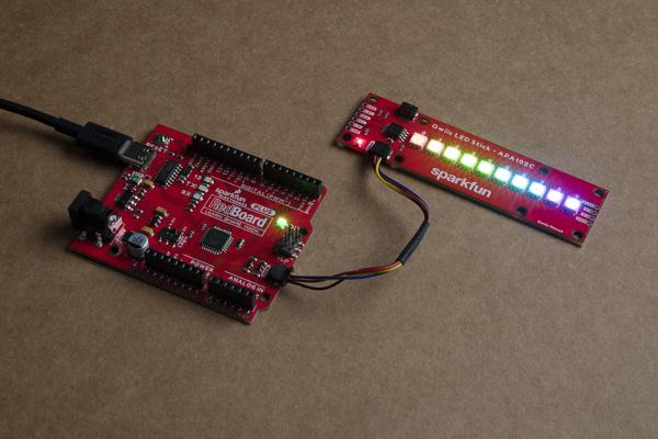 Standard Qwiic LED Stick circuit with the SparkFun RedBoard Qwiic