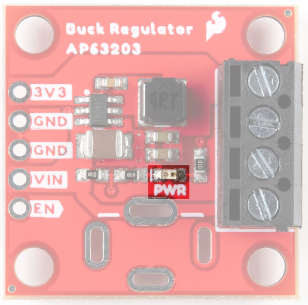 Power LED is on the front of the Buck Regulator, below the AP63203