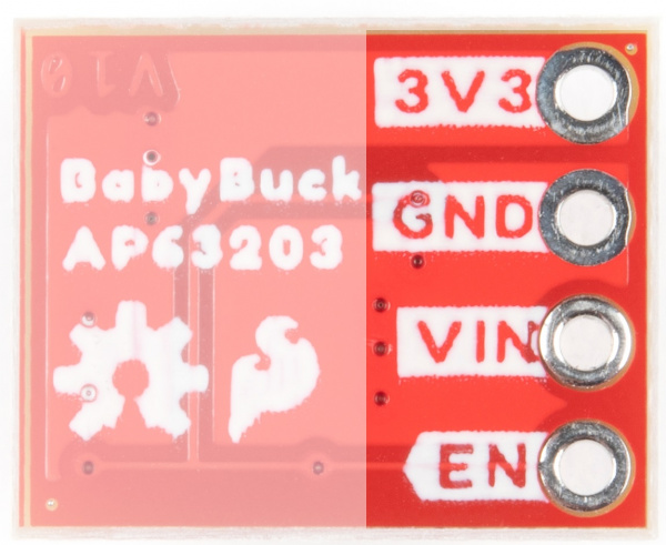 Plated through holes on the baby buck used for input and output