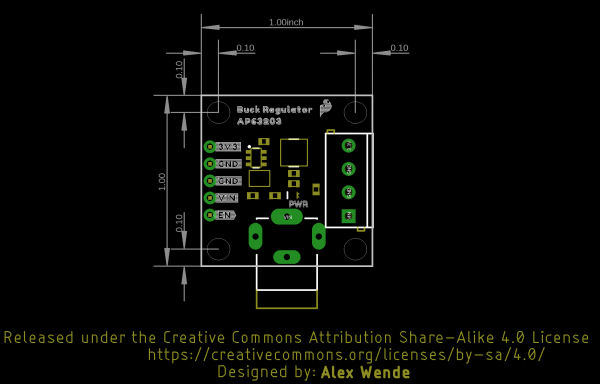 Outline and measurements of the SparkFun Buck Regulator Board