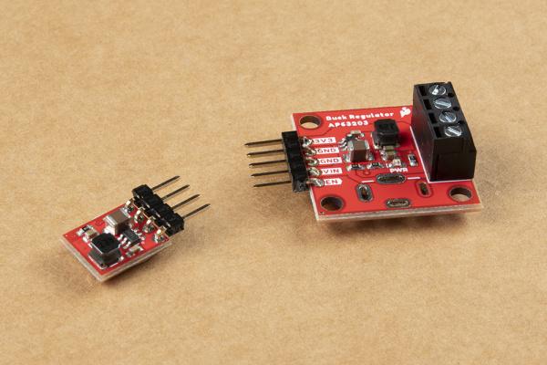 Headers soldered to the PTH pins on both the Buck Regulator and the Baby Buck Regulator