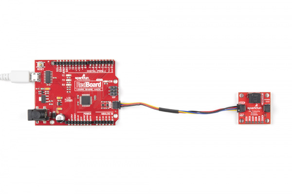 Plug the qwiic connector to the sensor and the redboard - voila!