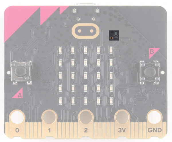 Microphone input and LED indicator is on the right side of the touch sensitive logo at the top of the board