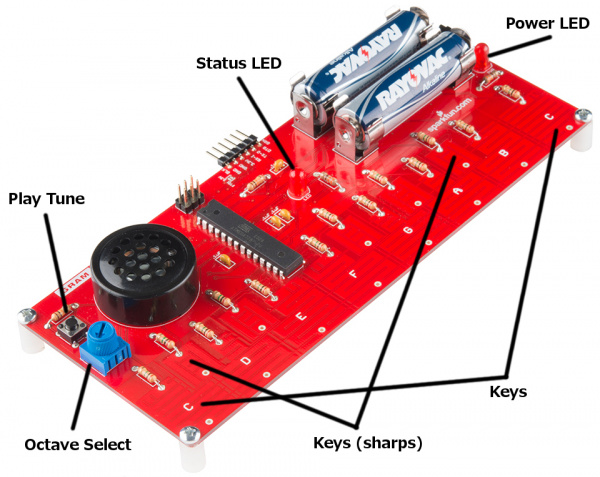 Locations of the music keys, button to play a tune, octave select potentiometer and status/power LED's
