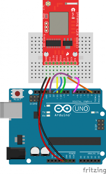 Frizting of CC3000 Breakout connected to an Arduino