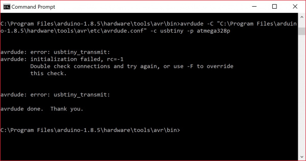 AVRDUDE usbtiny_transmit Error Communicating with AVR Programmer