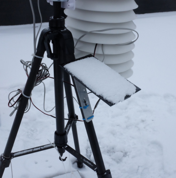 Solar panel with snow